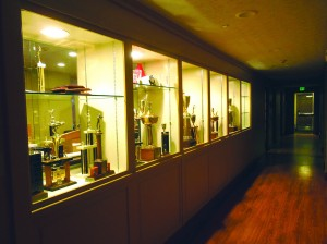First floor hallway with trophy cases